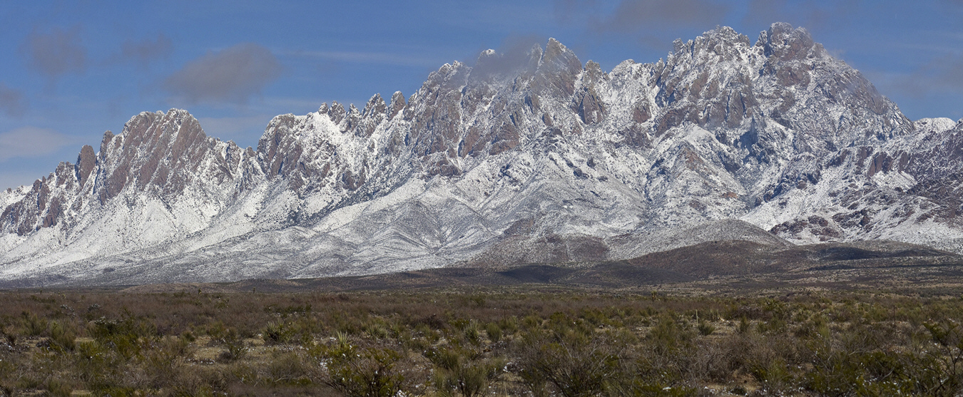 Snow on the Organ Mountains, picture taken SE of Las Cruces