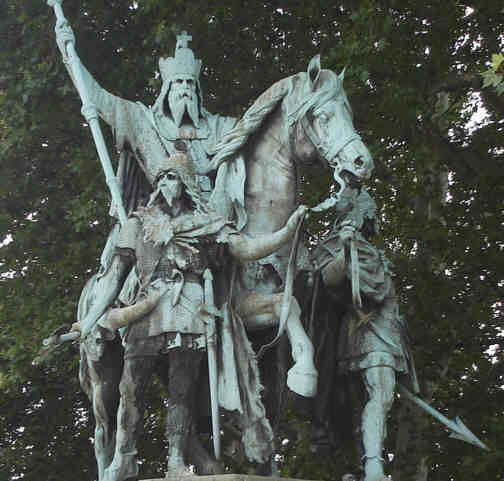 This statue of Charlemagne and two Frankish body guards stands on the grounds of Notre Dame in Paris