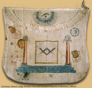 Meriwether Lewis's Masonic Apron. Blood splatters at picture's left.