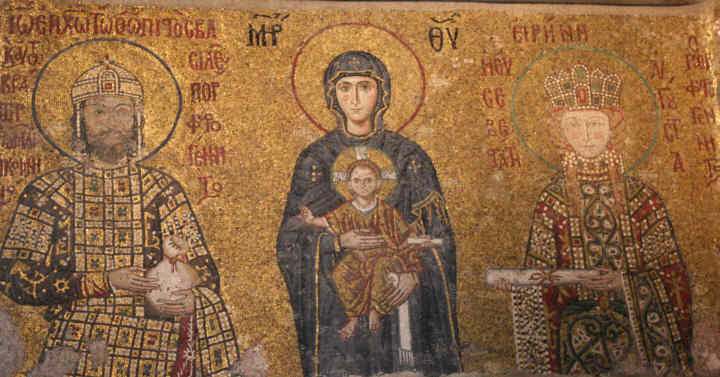 One of many beautiful mosaics that can be seen inside once Christian churches in Turkey