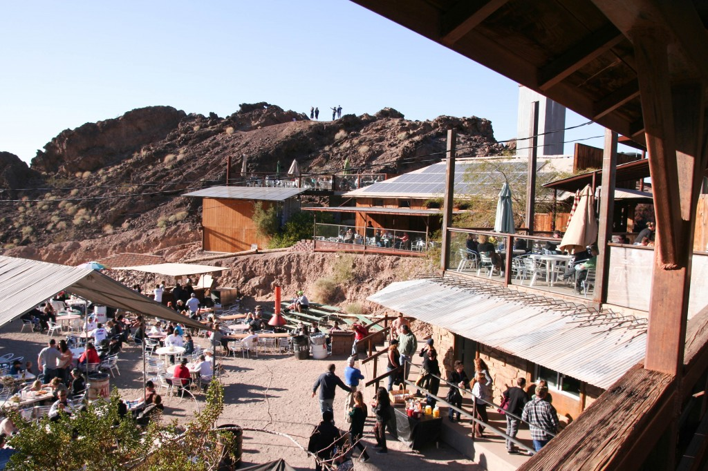 Desert Bar: From the bridge, a view of the main building and solar collectors at the back right.